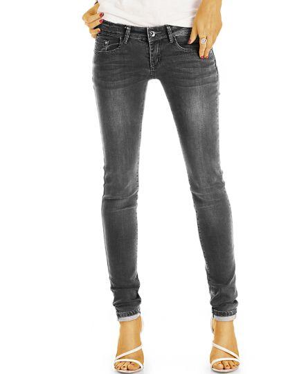 Hüftjeans Skinny, Röhrenjeans Hose, Vintage Schwarze Graue Slim Fit Jeans - Damen -  j14L-Q