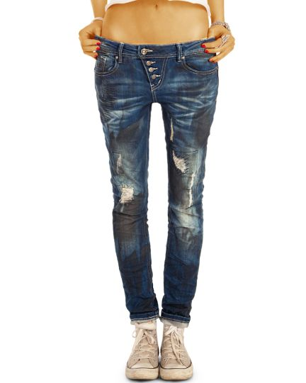 CAY Knopfleiste - Destroyed Design Hüftjeans Boyfriend Baggy Hose Damen, weiter lockerer Tapered Schnitt - j5i