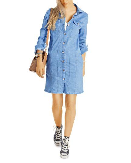 Jeanskleid mit Knopfleiste - Denim Kleid im Jeansjacken Look, Longtop Jenashemd - Damen - t47z