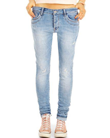 Low Waist Jeans Hüftjeans tapered  Boyfriend Hosen - Damen j25g-3