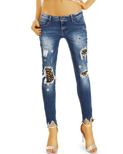 Skinny Jeans Röhrenjeans, ausgefallene zerrissene Hose in Destroyed Used-Optik - Damen - j15p