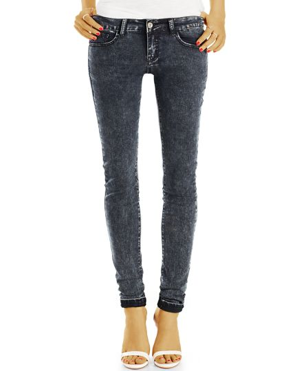 Graue Röhrenjeans - Skinny Hosen in Slim Fit Jeans - Damen - j83f