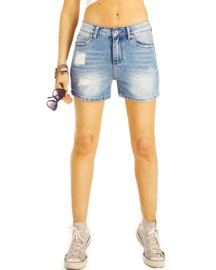 Jeans Shorts, High Waist Hosen, Hotpants kurze Hosen - Damen - j24L-3
