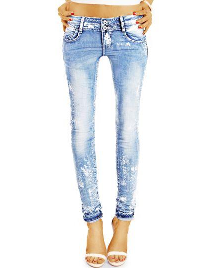Design Jeanshose Hüftjeans Damen mit weißen Farbflecken, röhriger Skinny Slim Schnitt - j25r