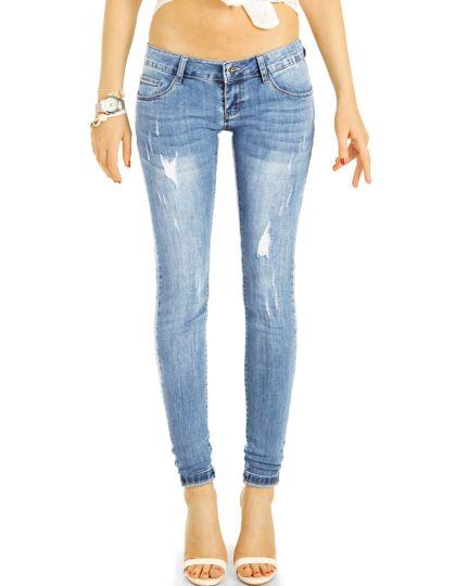 Low Waist Jeans Hüftjeans Röhrenjeans Skinny Sommerhose - Damen j18m-2