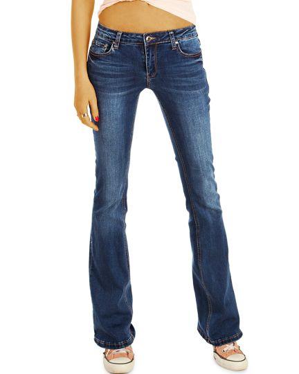 Bootcut Jeans Hüftjeans Bequeme Stretch Fit Passform Hosen -  Damen - j15r-Q
