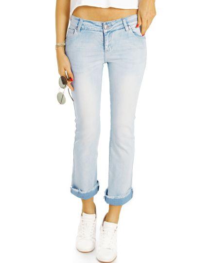 Jeans Hose in 7/8 Länge, Vintage Used Hellblau ausgefranster Saum - Damen - j94kw-Q