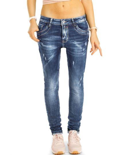 Boyfriend Jeans Hose im lockeren bequemen weiten Baggy  Relaxed Fit - Damen - j39L-1