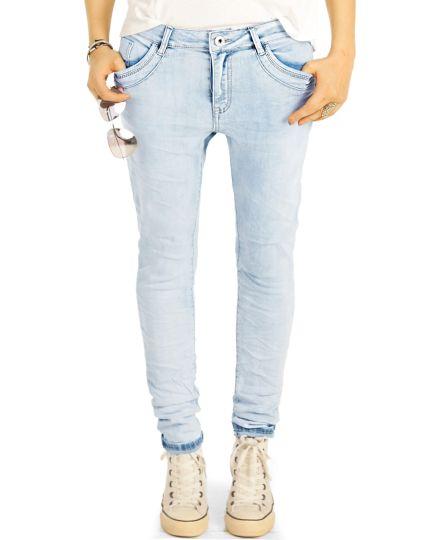 Boyfriend Jeans Hose Medium Rise Relaxed Fit - Locker bequem klassisch - Damen - j24i-1