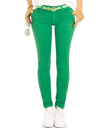 Low Waist Jeans Hüftjeans Röhrenjeans grüne Skinny Hosen - Damen -  j19e