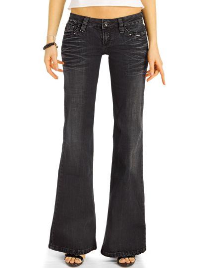 Bootcut Jeans Low Waist Hüftjeans Hose Retro Schlagjeans - Damen - j5k-2