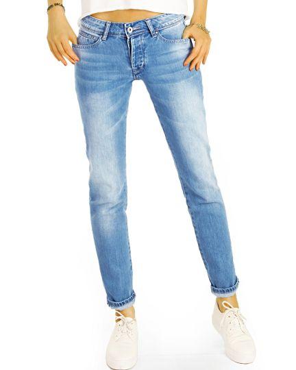 Hüftige Boyfriend Jeans Hose Low Rise Relaxed Fit - Locker bequem klassisch - j13L-2
