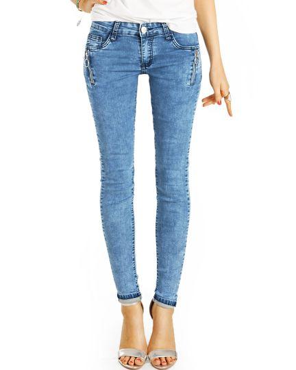 Low Waist Jeanshose Hüftjeans Enge Röhrige Stretch Skinny Jeans - Damen - j10i-2