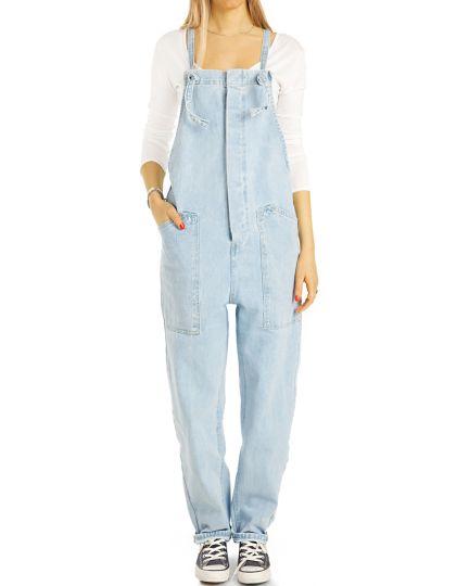 Latz Jeans Hose Boyfriend  / Oversize Passform hellblau Overall - Damen - j29k