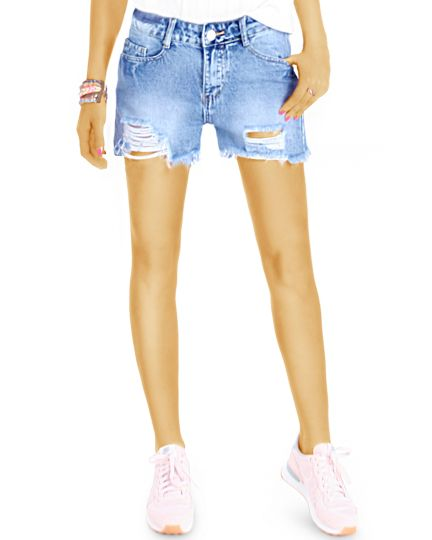 Jeans Shorts, Medium Waist Hosen, Hotpants - Damen - j58k-Q