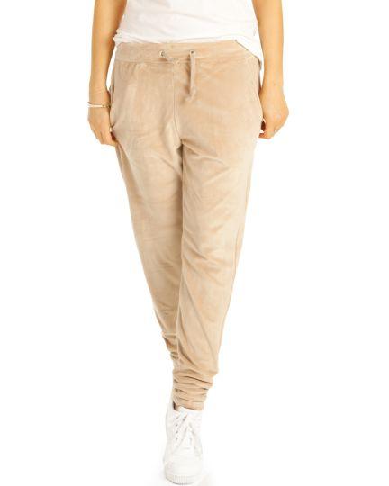 Lounge Hosen, Jogginghose Homewear Velour Sporthose - Damen - t112z