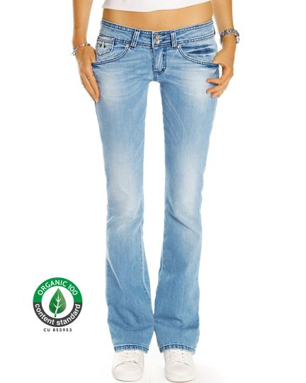 Premium Flared Bootcutjeans Hose aus Bio Denim - Low Waist Stretch Hüftjeans - Damen - Bi0_003