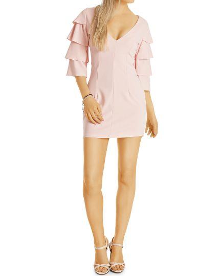 Elegante V Kleider - Damen Minikleid in verschiedenen Farben - k76p