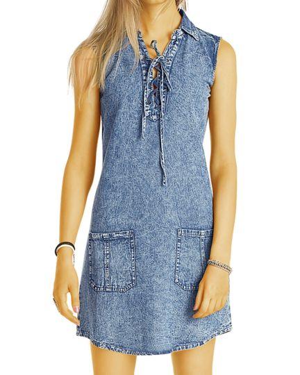 Vintage Jeanskleid - Longtop Frauen Mini Denim Kleider mit Schnürung - Damen - k81p-Q