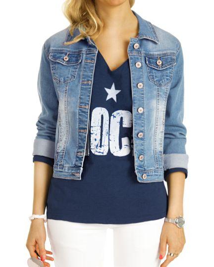 Shirt, Longtop Rockstar Longsleeve T-Shirt mit V-Ausschnitt Top Printshirt langärmelig Oberteil  - Damen - t123z