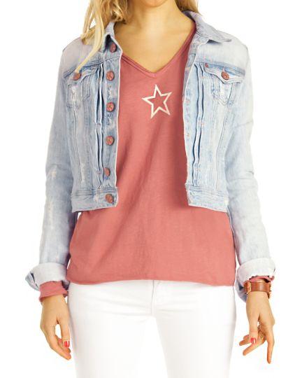 Shirt, Longtop Rockstar Longsleeve T-Shirt mit V-Ausschnitt Top Printshirt langärmelig Oberteil  - Damen - t124z