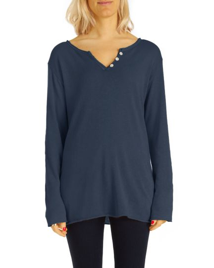 Damen Shirt, T-Shirt mit tollem Ausschnitt Top Oberteil bequeme lockere Bluse  - Frauen- t104z