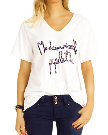Shirt, Longtop  T-Shirt mit V-Ausschnitt Top Printshirt Oberteil  - Damen - t121z