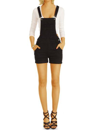 Farbige Latz Jeans Shorts, kurze Stretch Hose , Trendige Sommerhosen - Damen - j4p