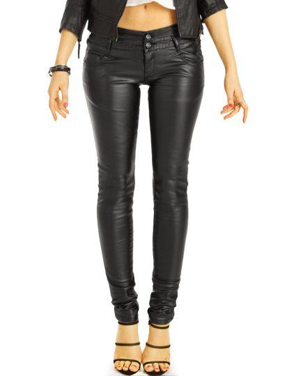 Röhrenhose vegane Super Skinny Low Waist Jeans Hose hüftige Strech PushUp Kunstlederhose - Damen - j15i-3
