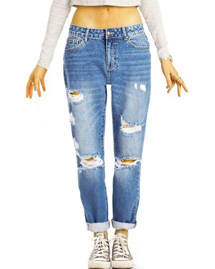 Mom Jeans Boyfriend High Waist Hose - Destroyed Locker Bequem -  Damen - j6g-3