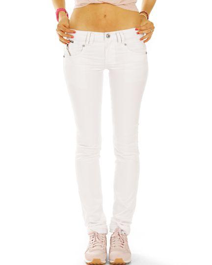 Skinny Röhrenhose Stretch Fit in weiß low waist Jeans- Damen - j3k-1