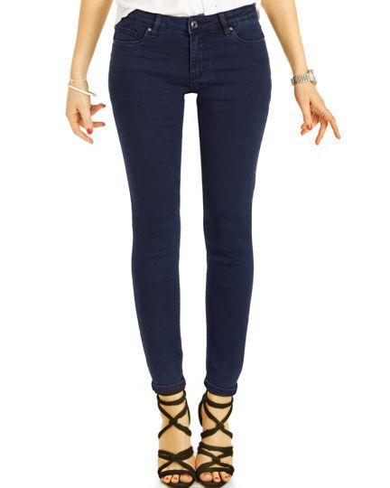 Hüftjeans Skinny Hose - Stretch dunkelblaue slim Röhrenjeans - Damen- j32p-1