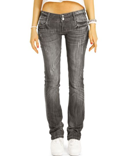 be styled Low Waist Hüftjeans straight fit Hose gerades Bein - Damen - j137p-straight