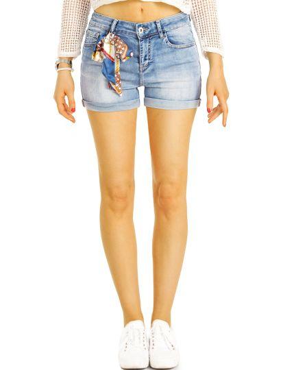 Hotpants Shorts Jeans Hose Sommer Stretch mit Tuch- Frauen - j15e