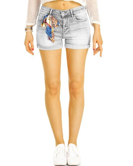 Hotpants Shorts Jeans Hose Sommer Stretch mit Tuch- Frauen - j15e