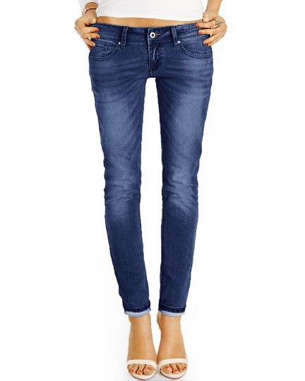 Low Waist Hüftjeans Hose im lockeren bequemen Boyfriend Relaxed Fit - Damen - j7g-2b