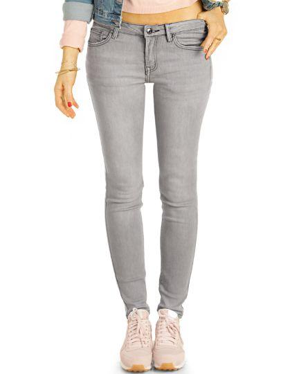 Low Waist Jeans Hüftjeans graue Röhrenjeans Skinny Hosen - Damen -  j22i-3