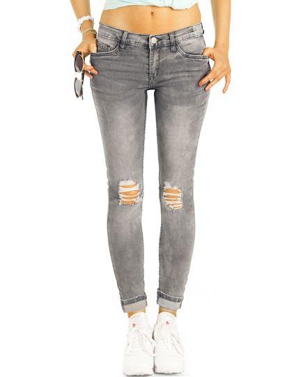 Low Waist Jeans Hüftjeans Destroyed  Röhrenjeans Skinny Hosen - Damen -  j25k-1