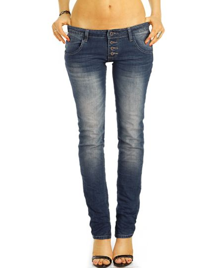Low Waist Hüftjeans Hose im lockeren bequemen stretch straight cut Fit - Damen - j12L-3