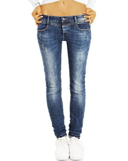 Low Waist destroyed Jeans Hüftjeans Röhrenjeans Vintage Skinny Hosen - Damen -  j32g-2