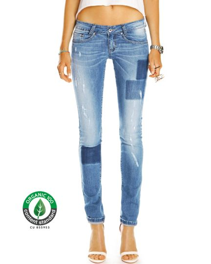Premium Hüftjeans aus Bio Baumwolle - Skinny Röhrenjeans Low Waist Jeanshose - Damen - Bi0_002a