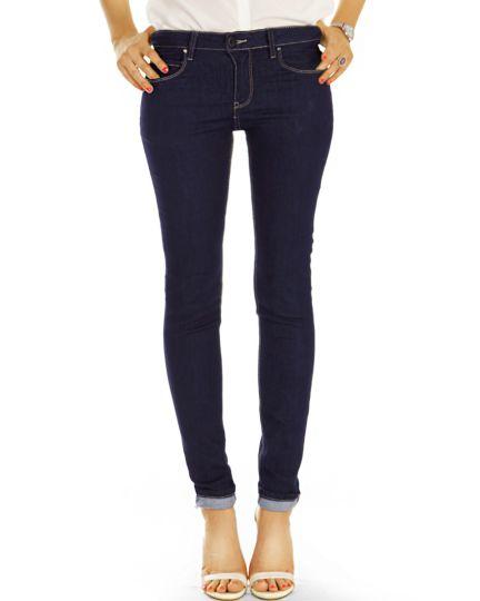medium waist slim cut Jeans regular dunkelblaue Jeans stretch Hosen - Damen - j32L-1