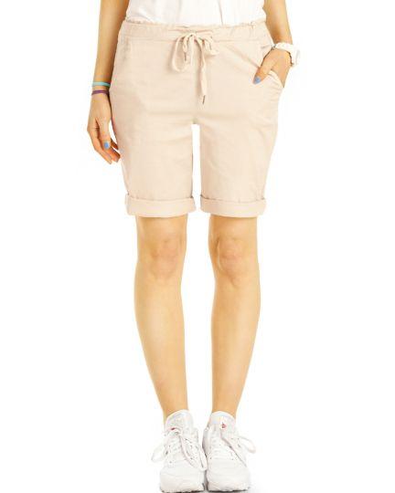 Sommer Chino Stoff Shorts - Kurze lockere Hosen mit Kordelzug - Damen - h28a