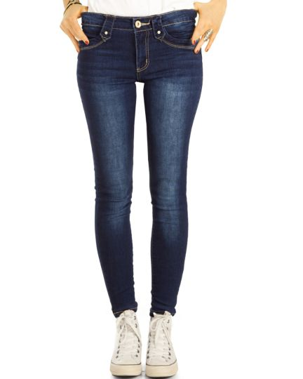 Röhrenjeans Skinny Fit Blue Jeans Medium Waist  Jeans aus Stretch Denim - Damen - j16f-1