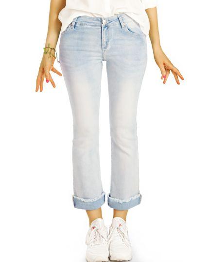 Jeans Hosen in 7/8 Länge, medium waist Vintage Used Hellblau ausgefranster Saum - Damen - j94kw