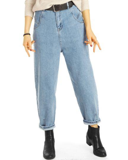 Mom Jeans Boyfriend High Waist Hose - Slouchy Locker Bequem -  Damen - j10e-1