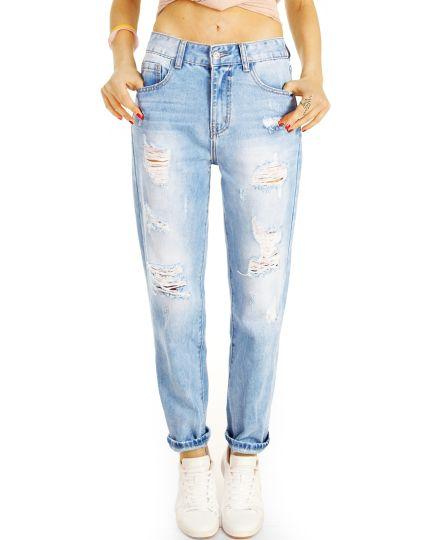Mom Jeans Boyfriend High Waist Hose - Destroyed Locker Bequem -  Damen - j6e