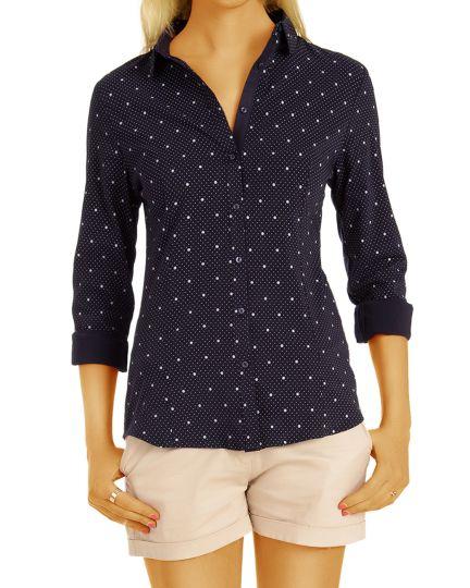 Maritimes tailliertes Blusen Hemd mit Kragen Knopfleiste, gepunktet - Damen Oberteil Top Kleidung - t74z