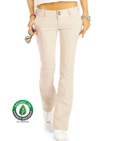 BE STYLED Premium Stoffhosen, Bootcut Chinos Hüfthosen aus Bio Organic Baumwolle, Damen -BIO-7