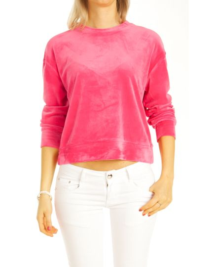 Pullover, Nicki Pulli Velour Loungewear Tops - Damen - t114z